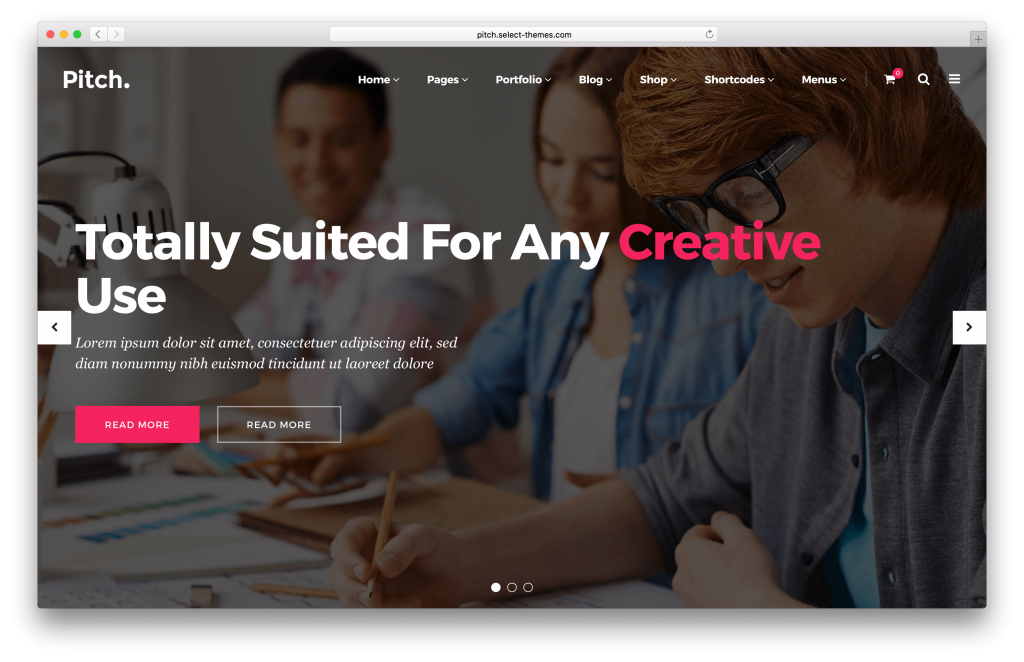 Pitch portfolio WordPress theme screenshot