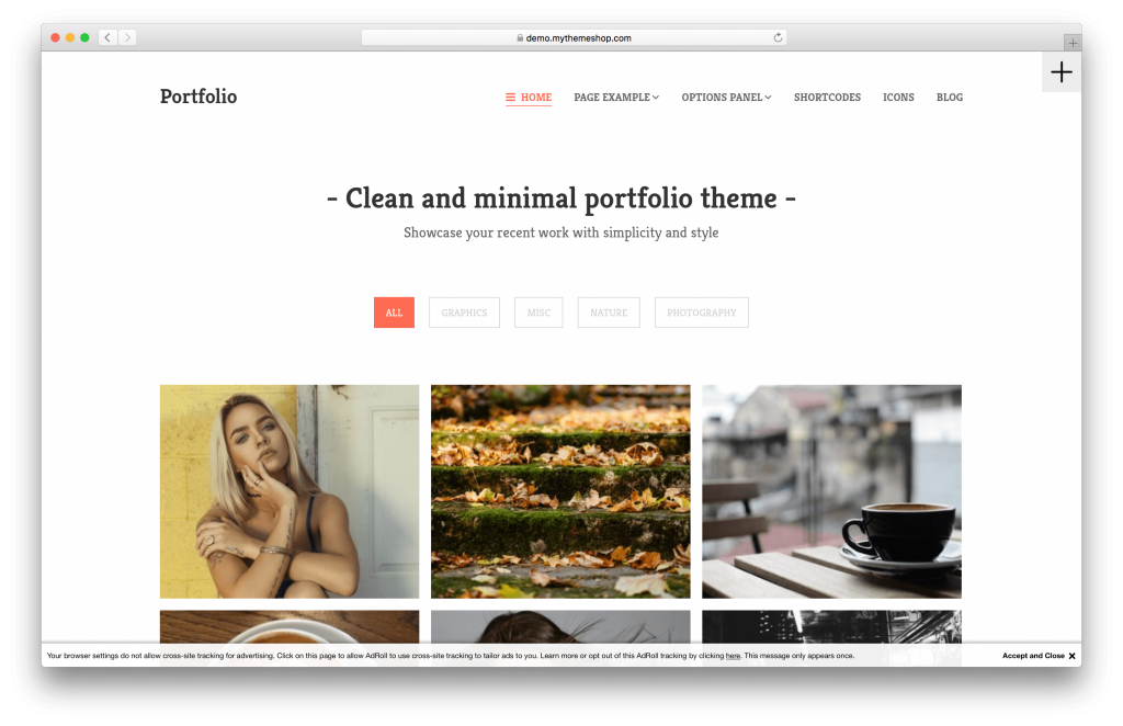 Portfolio portfolio WordPress theme screenshot