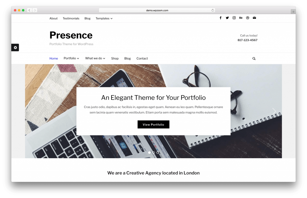 Presence portfolio WordPress theme screenshot