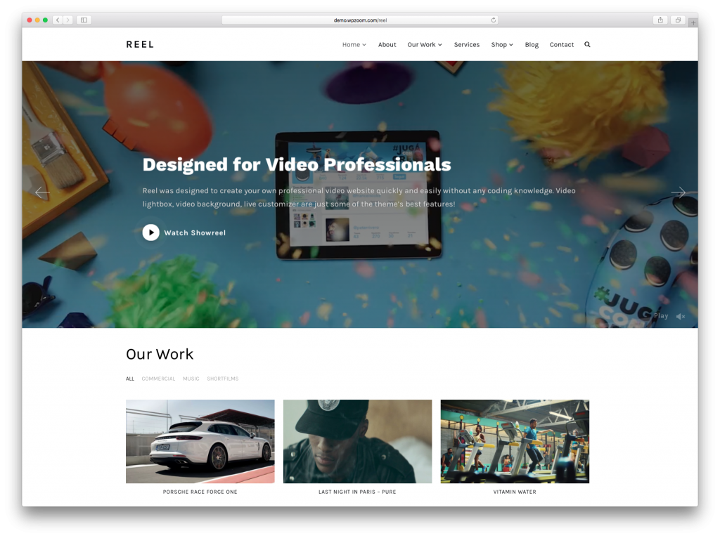 Reel WordPress Video Product and Portfolio Theme