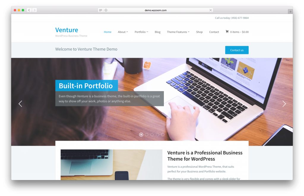 Venture portfolio WordPress theme screenshot