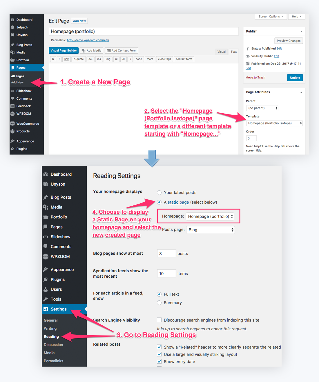 Reel documentation wpzoom go to wordpress dashboard and create a new page pronofoot35fo Images