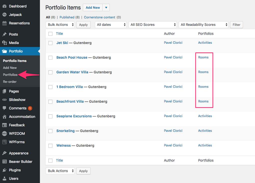 how to set up a portfolio in pages