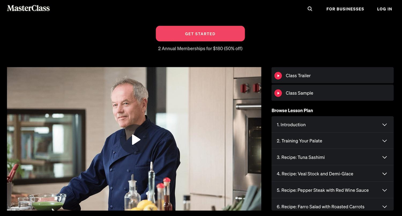 Wolfgang Puck masterclass recipes